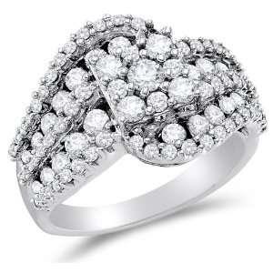 Size 4   14K White Gold Large Diamond Cross Over Engagement OR Fashion