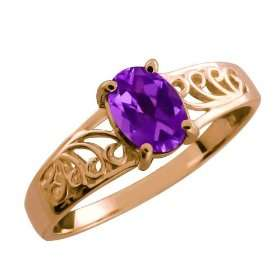 0.75 Ct Oval Purple Amethyst 18k Rose Gold Ring Jewelry