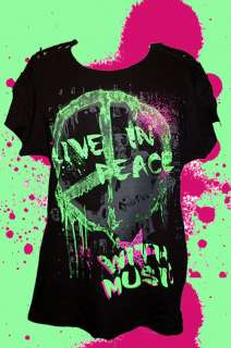 80er 70er Jahre Peace Hippie Shirt Neon Punk New Wave