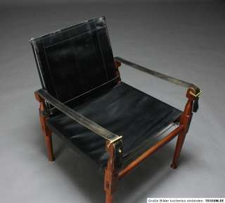 HAYAT & BROS PESHAWAR safari chair   Leder & Teak   ca. 1950