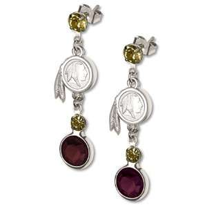 Washington Redskins Earrings NFL Logo w/ Team Colors