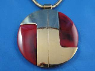 Vintage ~LANVIN PARIS~ Gold Tone Red LUCITE Circle Pendant Necklace