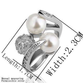 R41 18K white Gold plated white gem Swarovski beautiful pearl ring