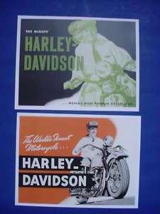 Pair 1947/48 Harley Davidson Motorcycle Riders Posters