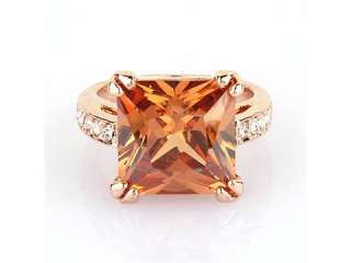 18K GP Simulated Topaz Ring Swarovski Clear Crystals R574Q