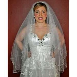 WHITE 2T Bridal Wedding Veil Scattered CRYSTAL Edge