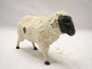 VINTAGE CAST IRON STILL SHEEP BANK CHILDS TOY PAINTED ANIMAL FIGURINE