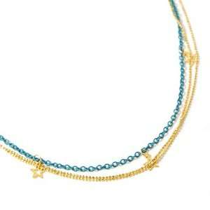 Gold and Blue Star Triple Layer Charm Necklace Fashion Jewelry
