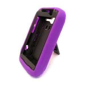 HTC Wildfire S Black and Purple Impact Protection Case Stand Heavy