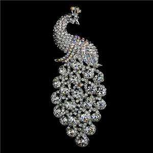 92 Bridal Peacock Bird Brooch Pin Swarovski Crystal Peafowl