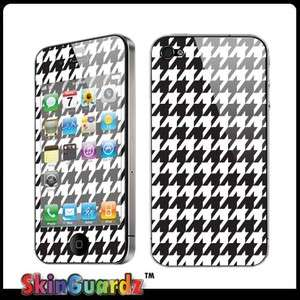 Black White Houndstooth Case Decal Skin Cover Apple iPhone 4 / 4s