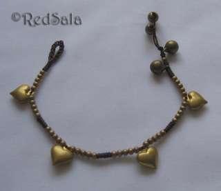 Handmade Craft BRACELET Brass Beads Bells Jingle Spiral