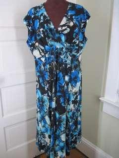 JONES STUDIO Blue Black Botanical Jersey Dress 18W
