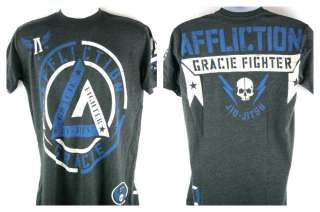 Affliction Cesar Gracie Jiu Jitsu Fighter Premium Black T shirt New