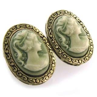Antique Brass Oval Green Khaki Cameo Stud Earrings e126