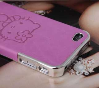 Cute Rose Purple Hello Kitty Chrome Leather Hard Skin Case Cover F