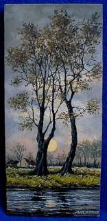 FRENCH OIL PAINTING WOOD PANEL CLAIR DE LUNE FULL MOON