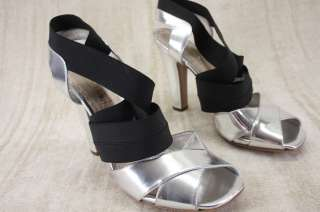 Prada Criss Cross Elastic Silver ankle strappy Sandals 41.5 11.5 New