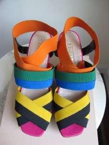 NIB Prada Elastic Multi Color Striped Wedge Sandals Shoes Runway 38 39