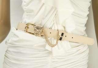 Leather Belt Leopard Buckle Fashion Lady 1 Wide Elegant Waistband
