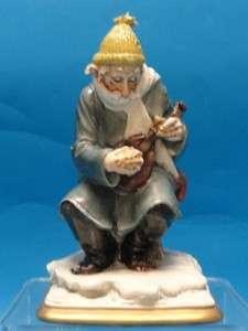 CEDRASCHI SIGNED CAPODIMONTE FIGURINE OLD MAN with MANDOLIN * ITALY