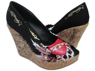 Womens Ed Hardy Coralie Black Wedges Heels Shoes 6 884456253476
