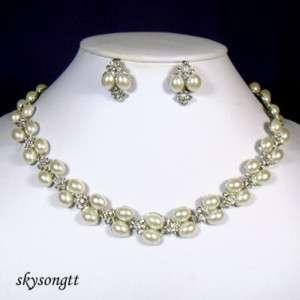 Swarovski Crystal Bead Silver Choker Necklace SetS1553S