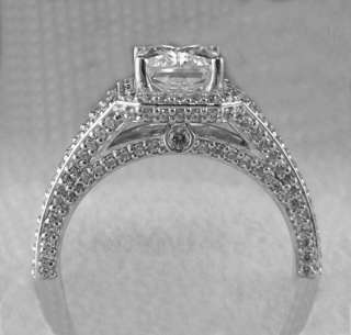 CTW EMERALD CUT SPLIT SHANK HALO ENGAGEMENT RING SOLID 14K GOLD