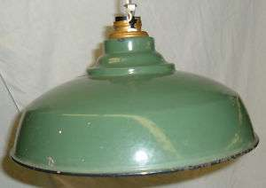 Industrial Age Green Enamel Light Fixture Porcelain