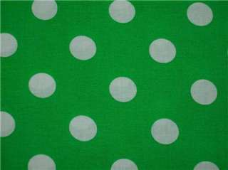 New Kelly Green Large White Polka Dot Fabric BTY Flawed