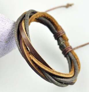 Multi Surfer Leather Hemp Braided Bracelet Wristband 01