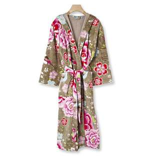 Birds of Paradise cotton robe khaki   PIP STUDIO   Robes   Nightwear