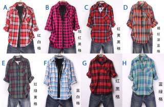 Women Spring Fit Button Down Casual Slim Shirt Plaid Shirts Top Blouse