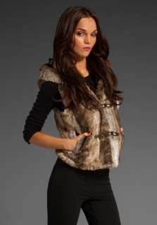 JUICY COUTURE Rex Rabbit Faux Fur Hooded Toggle Vest in Sable at