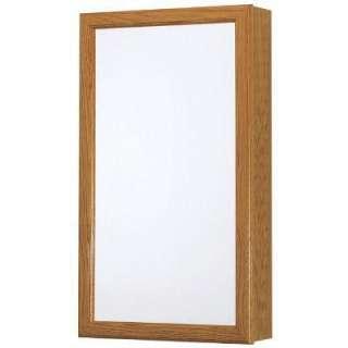 15 in. W Surface Mount Framed Mirrored Swing Door Medicine Cabinet in