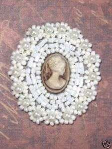 0384 IVORY BEIGE VICTORIAN CAMEO BEADED APPLIQUE 1.75