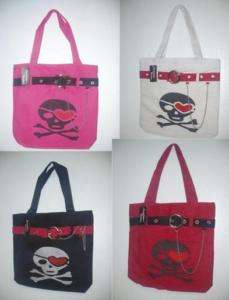 Pirates Skulls Cross Bones Gothic Tote Gym Purse Bag