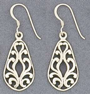 Sterling Silver Scrolled Filigree Teardrop Earrings