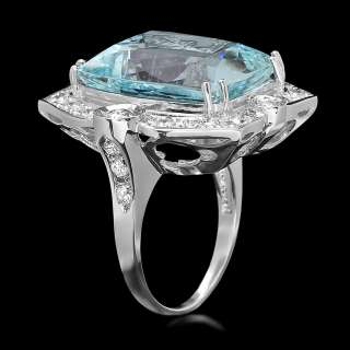 16300 CERTIFIED 14K WHITE GOLD 19CT AQUAMARINE 1.60CT DIAMOND RING
