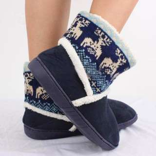 New Fashion Women Knitting Plush Elk Deer Mid calf Winter Home Boot