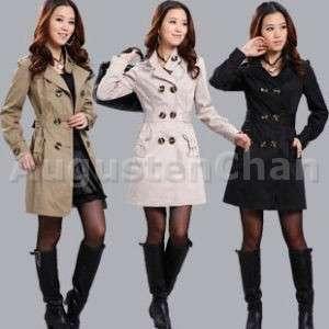 breasted Trench Coat Jacket Korean Style Beige Black Khaki M L
