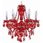 Concerto 6 Light Hanging Red and Chrome Chandelier Light
