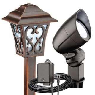 Malibu 6 Light Outdoor Tarnished Copper/Black Coach Style Light Kit