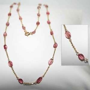 14K gold GENUINE PINK ROSE TOURMALINE station necklace