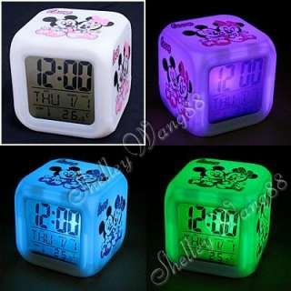 LED Change 7 Color Digital Alarm Clock Mickey Mouse New
