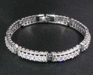 Fashion Jewelry Lady Gift Clear Topaz Stone White Gold GP Bracelet