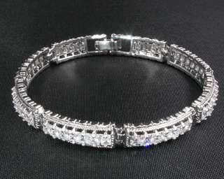 Fashion Jewelry Lady Gift Clear Topaz Stone White Gold GP Bracelet