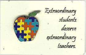 Autism Awareness Apple Pin Puzzle Piece Tac Lapel Great for Teachers