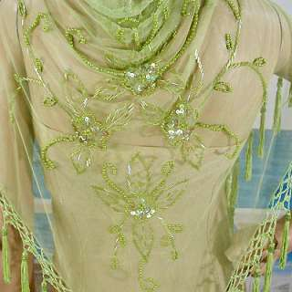 Beaded and Sequined Shawl in White, Black, Pink, Lime, and Champagne