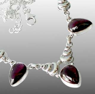 RED GARNET PEAR OVAL 925 STERLING SILVER ARTISAN NECKLACE 16 17 4/8